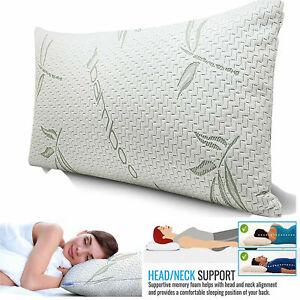 2 x Luxury Bamboo Hollowfiber Pillow Orthopedic Head Neck Back Sleep Support
