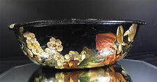 Thetford Pulp Ware--Black Papier Mache' Floral Bowl--Lovely--Buy It Now!