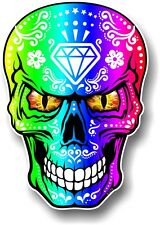 LARGE Realistic Mexican Sugar Skull Multi Colour & Evil Eyes car sticker Decal