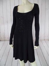 KAREN KANE Dress XS Black Rayon Spandex Thin Knit Pullover Black Sequins SEXY!