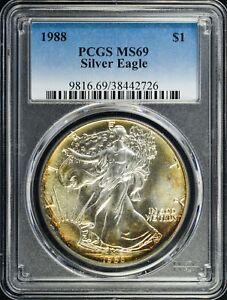 1988 Silver Eagle $1 PCGS MS69 ORIGINAL TONING
