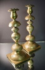 "Pr Norblin & Co Brass 14"" Shabbat Candlesticks Warszawa, Poland 1890 Art Nouveau"