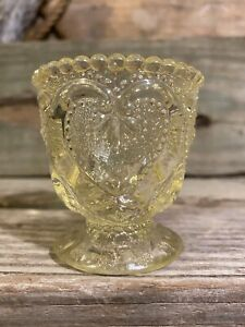 L G Wright Glass Sweetheart Canary Yellow Toothpick Holder