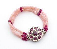 Bracelet Pink Opal and Ruby 3 Strand Bracelet With Vintage Sterling Silver Ruby