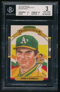1987 Donruss	Jose Canseco Diamond Kings BGS 3 Misprinted Blank Back