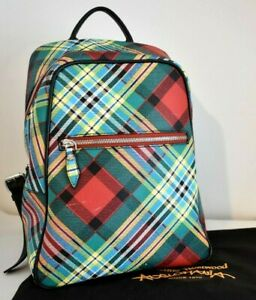 VIVIENNE WESTWOOD Tartan Check Vegan Leather Anglomania Keyring Backpack Bag