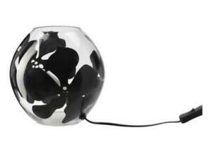 """Set of 2 Ikea KNUBBIG Clear w/ Black Floral Design 5"""" Tall Globe Table Lamp Pair"""
