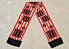 SCARF VINTAGE AUTHENTIC GEOMETRIC STRIPED WHITE RED BLUE SILK DOUBLE LONG MEN'S