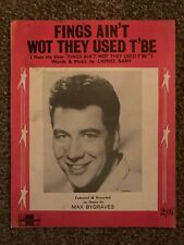 Sheet Music - Max Bygraves - Fings Ain't What They Used T'Be
