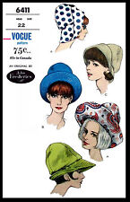 VOGUE 6411 Designer JOHN FREDERICS BRIMMED Hat Fabric Sewing Pattern Chapeau 22""