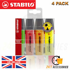 STABILO BOSS ORIGINAL Highlighter Markers Pens Wallet Pack of 4 Assorted Colours