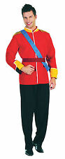 Mens Red Prince Royal Fancy Dress Costume Royalty King William Harry Outfit New