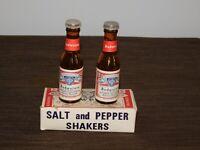 "VINTAGE KITCHEN 4"" HIGH BUDWEISER BEER GLASS SALT & PEPPER SHAKERS IN BOX"
