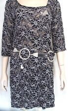 Biondo NWT black white lace stretch dress M open loose weave see thru new USA.