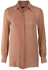 New RAUOL Nude Sheer Silk Bead Studded Collar Blouse Shirt US8/12 $345