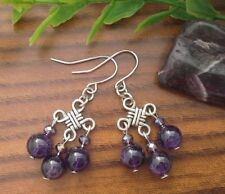 Natural AMETHYST Gemstone On Chinese Lucky Knot, Drop Dangle Earrings Feng Shui