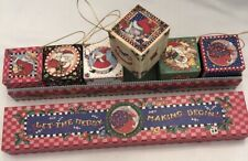 Mary Engelbreit 1997 Santa Set Of 6 Paperboard Cube/Blocks Ornaments New In Box