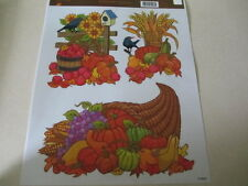 THANKSGIVING FALL AUTUMN WINDOW CLINGS INDOOR DECORATIONS 3 PCS