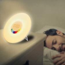 Wake-up Light Sunrise Alarm Clock LED FM Radio Bedside Night Lamp 7Colours New