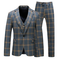 Plaid Men's Suits Vintage Groom Tuxedos Formal Wedding Prom Party Dinner Suit