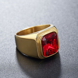 Stainless Steel Gold Plated with Red Glass Ring for Men Women Wedding Band Ring