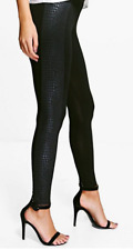 Boohoo Sara Snake Skin Leather Look Panel Leggings UK 10 JS001 AA 13