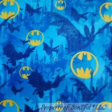 BonEful Fabric Fleece BTHY 1/2 Yd Blue Yellow BATMAN City Logo Super Hero Comic