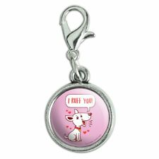 I Ruff Love You Dog Funny Humor Antiqued Bracelet Charm with Lobster Clasp