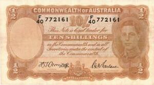 Australia 10 Shillings Currency Banknote 1942