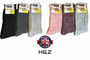 1,3,6 Pair Ladies Boot Wool Blend Socks Hiking Walking  Warm Size UK 4-7