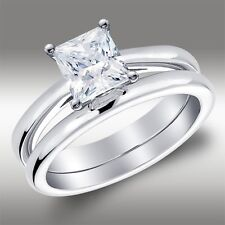 1.56 Ct Princess Solitaire Engagement Ring Matching Band Solid 14k White Gold