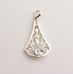 Blue Topaz Pendant 925 Silver Gemstone Sky New Design
