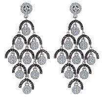 Women's Dangle Chandelier Earrings 2.87 Ct White Black Pave Diamond 14k Gold