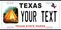 TEXAS  License Plate CUSTOM ADD TEXT PERSONALIZED STATE PARKS LONESTAR STATE