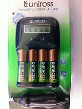 UNiROSS 1 Hour LCD Battery Charger & 4 x AA DURACELL RECHARGEABLES
