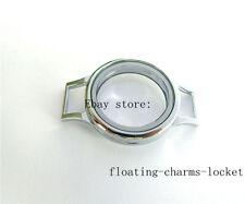 One  30mm floating charms Wrap Bracelet Memory Plain Glass Locket Base JK31