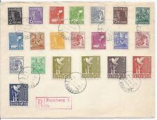 1948 Germany SC 557-577 1-5 Mark Set on Cover CTO, Registered from Bamberg*