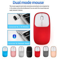 Rechargeable 2.4GHz Bluetooth Wireless Mouse Metal Silent Dual Mode Mice Home UK