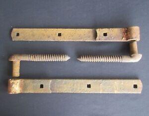 Pair of Antique Iron Strap Hinges w/ Pintles (Barn Rusty Farm Door Gate)
