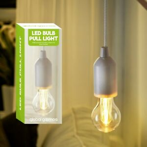 Portable White LED Light Bulb on a Rope Hanging Pull Cord Reading Lamp Lighting