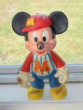 """Vintage Plastic Mickey Mouse Doll Figure 12"""" tall Posable Legs Arms Head Toy"""