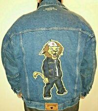2XL Rocawear Tiger Logo Jean Jacket Denim Generous Fit Button Front Blue Cotton