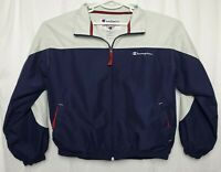Champion Mens M White Blue Activewear Full Zip Windbreaker Jacket 100% Polyester