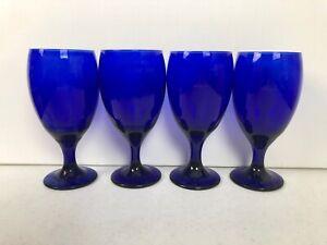 Cobalt Blue Teardrop Libbey Glass Goblets Set Of 4