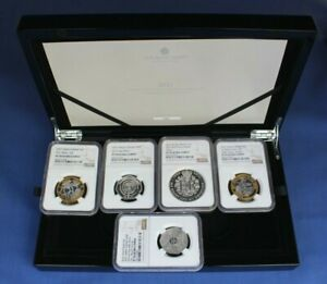 2021 Silver Piedfort Proof 5 coin Set NGC Graded PF70 Ultra Cameo with Case