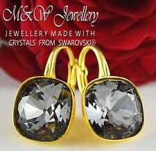 GOLD PLATED SILVER EARRINGS MADE WITH SWAROVSKI® 10MM FANCY STONE - SILVER NIGHT