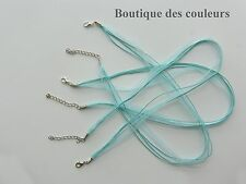 LOT DE 3 COLLIERS CORDONS RUBAN ORGANZA  BLEU CLAIR CREATION BIJOUX