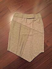 Bebe Black and White Wool Herringbone Tweed Patchwork Asymmetrical Skirt Sz 12