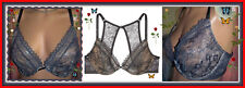 32DDD Gray Lace Very S exy Back Victorias Secret Unlined Uplift Plunge UW Bra