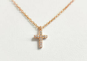 Tiffany & Co. Metro Cross Diamond Pendant Necklace 18K Rose Gold